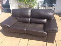 Genuine HIGH QUALITY Dark Brown/Black Leather Sofas - x 2 FOR SALE