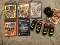 PlayStation2 Games, Buzz! Brain Of TheUK+4more, PS2 Game Bundle,Buzz Controllers