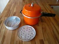 Vintage Orange 1970s Prestige Pressure Cooker