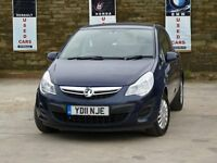 2011 11 VAUXHALL CORSA S ECOFLEX 1..0 PETROL BLUE 3 DOOR £30 YEAR TAX 12 MONTHS MOT 2 KEYS