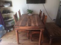 Solid Rosewood Table (150x90)cm with 4 chairs. Matching coffee table is also available
