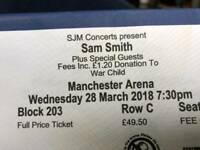 2 X SAM SMITH TICKETS WED 28TH MARCH