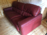 3 Seater Couch , great condition, burgundy real leather , it's a large couch, so check sizes .
