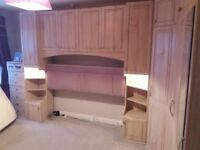 Bedroom furniture - Wardrobes, corner unit, overbed cupboards, headboard and 2 chests of drawers