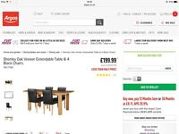 Brand New Extendable Oak Dining Table with 4 Chairs