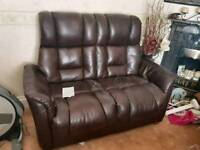 HSL Brown leather 2 seater settee and swivel chair with stool