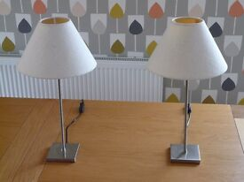 Pair of table lamps with chrome bases