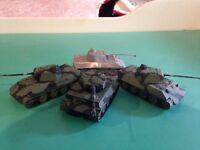 4 German plastic toy tanks - 1 Tiger tank and 3 Panther tanks