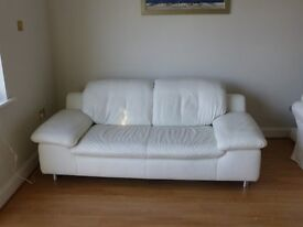 Contemporary White Leather sofa For Sale