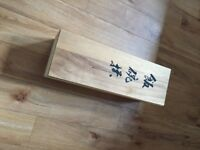 Japanese set of 5 blue and white china rice bowls with chopsticks