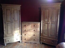 2 Beautiful Solid Wood Victoriana Wardrobes and Draws