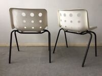 Pair of Robin Day Polo chairs white