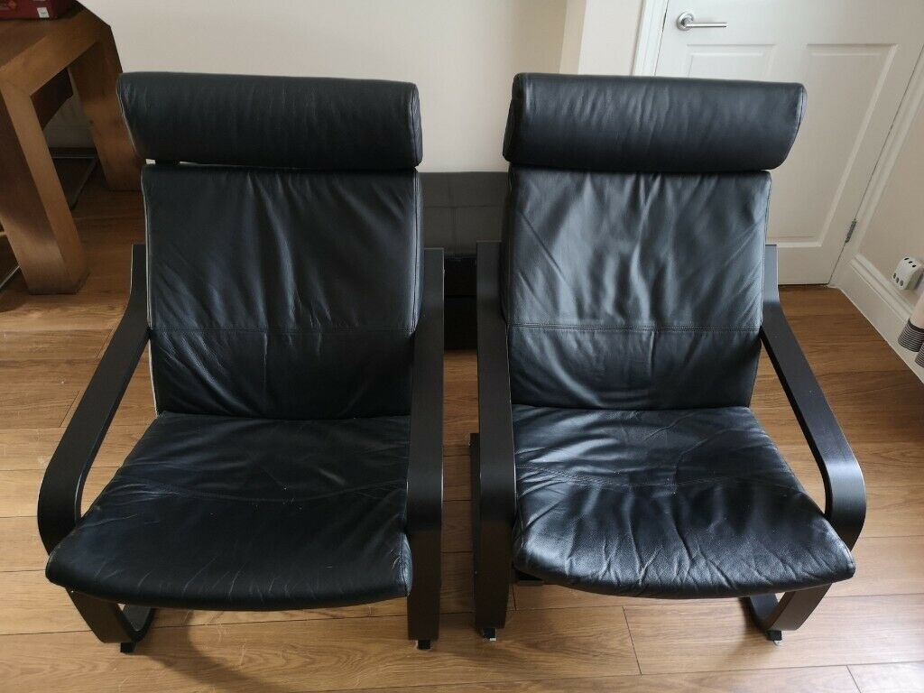 2 Ikea Poang Black Leather Chairs With Black Brown Frame