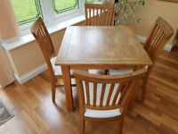 Wooden dining table and chairs ( 4)
