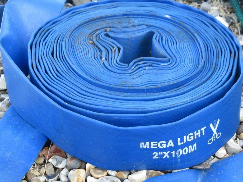 TWO INDUSTRIAL MEGA LIGHT RUBBER HOSE PIPES ONE NEW ONE USED
