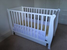 Lovely white sleigh cot with storage draw