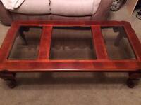 Mahogany solid wood & glass coffee table