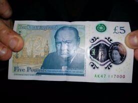 Rare £5 note AK47 117000