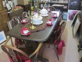 VINTAGE QUALITY 'ERCOL' LONG REFECTORY TABLE & 6 MATCHING ORNATE CHAIRS. VIEWING/DELIVERY AVAILABLE