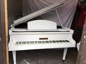 strohbech baby grand very small over strung white painted shabby chic £750 can deliver