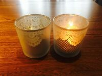60 x Frosted lace glass tea-light holders for wedding centrepieces/table decorations (job lot)