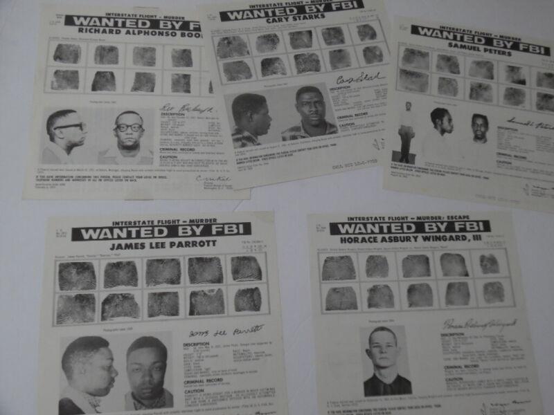1965-1974 FBI Wanted Poster Lot of Murderers Murder Interstate Flight Vintage