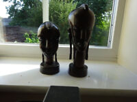 Two original Teak Wood African 1 female and 1 Male head carvings