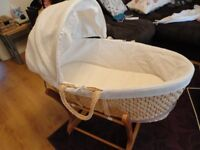 John Lewis moses basket, liner with matching hood, mattress and Mothercare stand