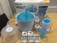 AVENT (Philips ) Bottle Feeding Set: Electric Steriliser, Warmer & Bottles