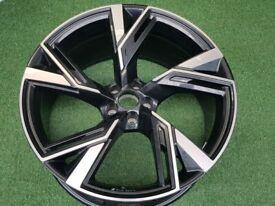 "1x 22"" Genuine Original AUDI RS6 Black & Diamond-Cut ALLOY WHEEL 10.5J (ET19) 5x112"