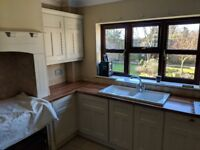 Second hand fitted kitchen for sale, all units in photos apart from aga surround, text for info.