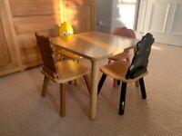 John Crane solid wood kids's farm yard table and chairs