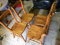 Four Pine Dining Table Chairs.