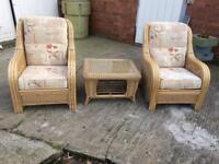 Kane furniture - 2 chairs and table with glass top. Garden, summer house furniture