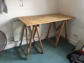 Wooden Trestle Studio Desk