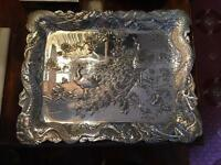 Antique Chinese Export Silver White Metal Scene Dragon Peacock Tray Platter