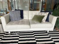 IKEA LANDSKRONA WHITE/CREAM TWO SEATER LEATHER SOFA