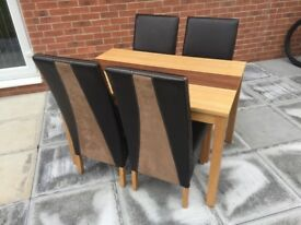 Wooden dining table plus 4 chairs