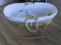 Clair De Lune Moses Basket and rocking stand £15