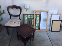 Bundle of items for upcycle projects, shabby chic, vintage. Chair, table, frames, mirror