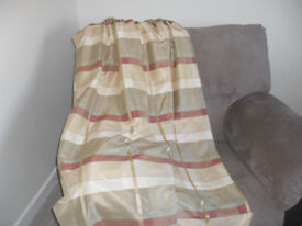 Pair of lined curtains, gold and orange stripe.