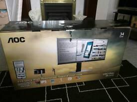 "34"" Aoc U3477PQU 3440x1440 IPS ultra wide monitor"