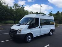 2011 reg Ford Transit 2.2 tdci minibus 12 seater low miles only 60k 6 speed NO VAT