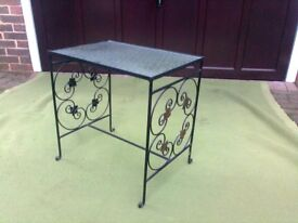 Small table suitable for living rooms or hall, retro style, glass top with ornate metalwork