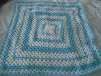 New Hand Made Baby Crochet Blanket aprox 25 inches square
