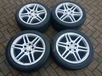 GENUINE MERCEDES BENZ AMG 17 INCH ALLOY WHEELS SUPERB TYRES C220 C250 5x112 C CLASS CDI VITO VANEO