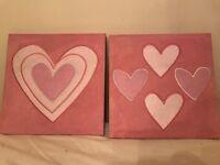 Pink heart wall art x2