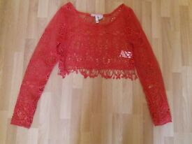Red Crocheted jumper Size XS