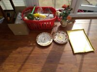 Pile of quality fisher ware glasses and clock's