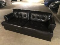 3 seater black leather sofa - excellent condition & quality